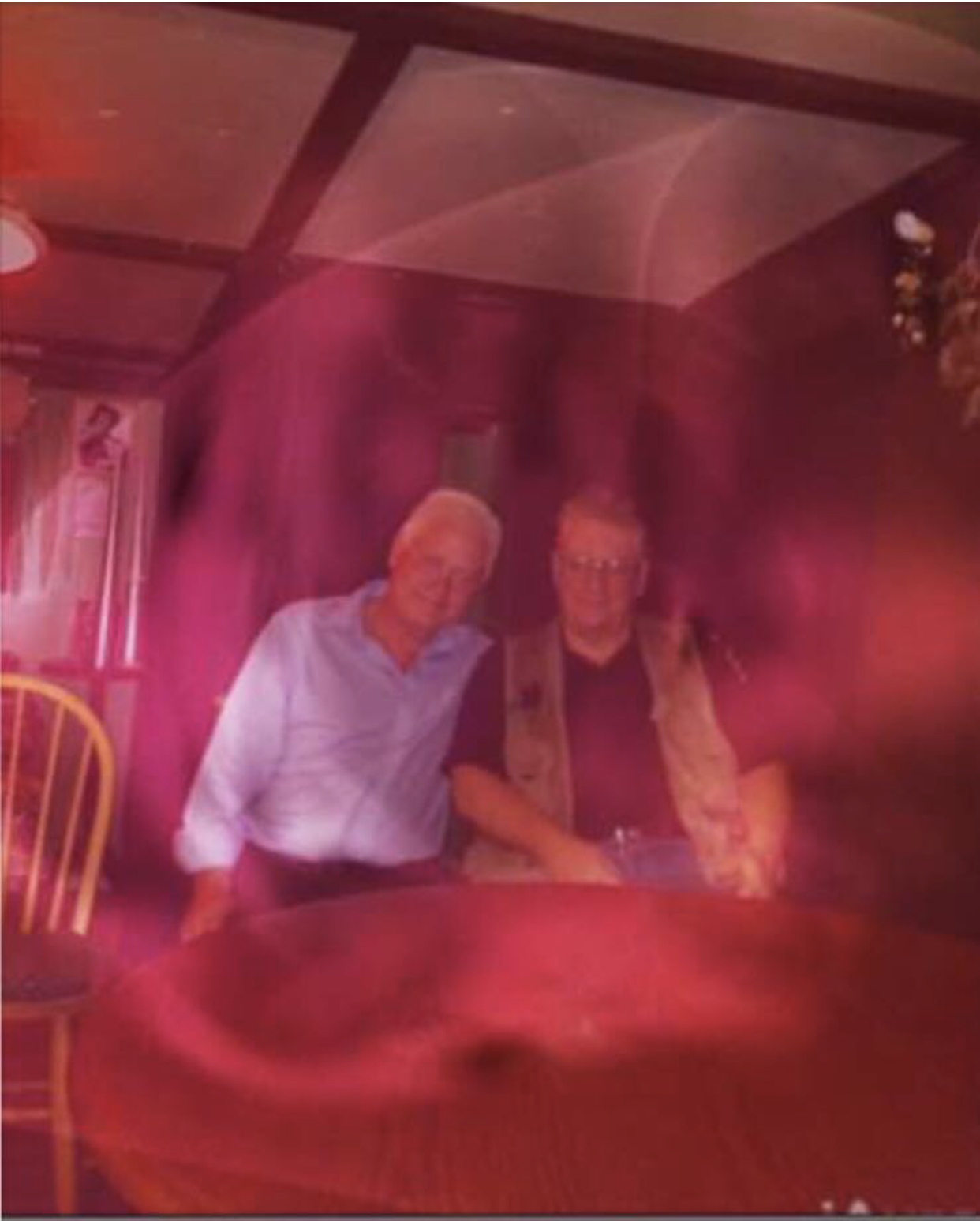 This is the most favorite picture I ever took.  iPhone used to have an app called iaura. we took photos of our séance peeps and gave them to each with their aura. Before and after a séance   This is Victor with Dennis from England. He was kind of like the good housekeeping seal of approval for mediums in England. He had a world renowned magazine. after he sat with you and liked your séance, he would refer You to his magazine subscribers. But if you understand,  look closely at the photo and you'll see the ascended masters in the photo also! it is amazing!