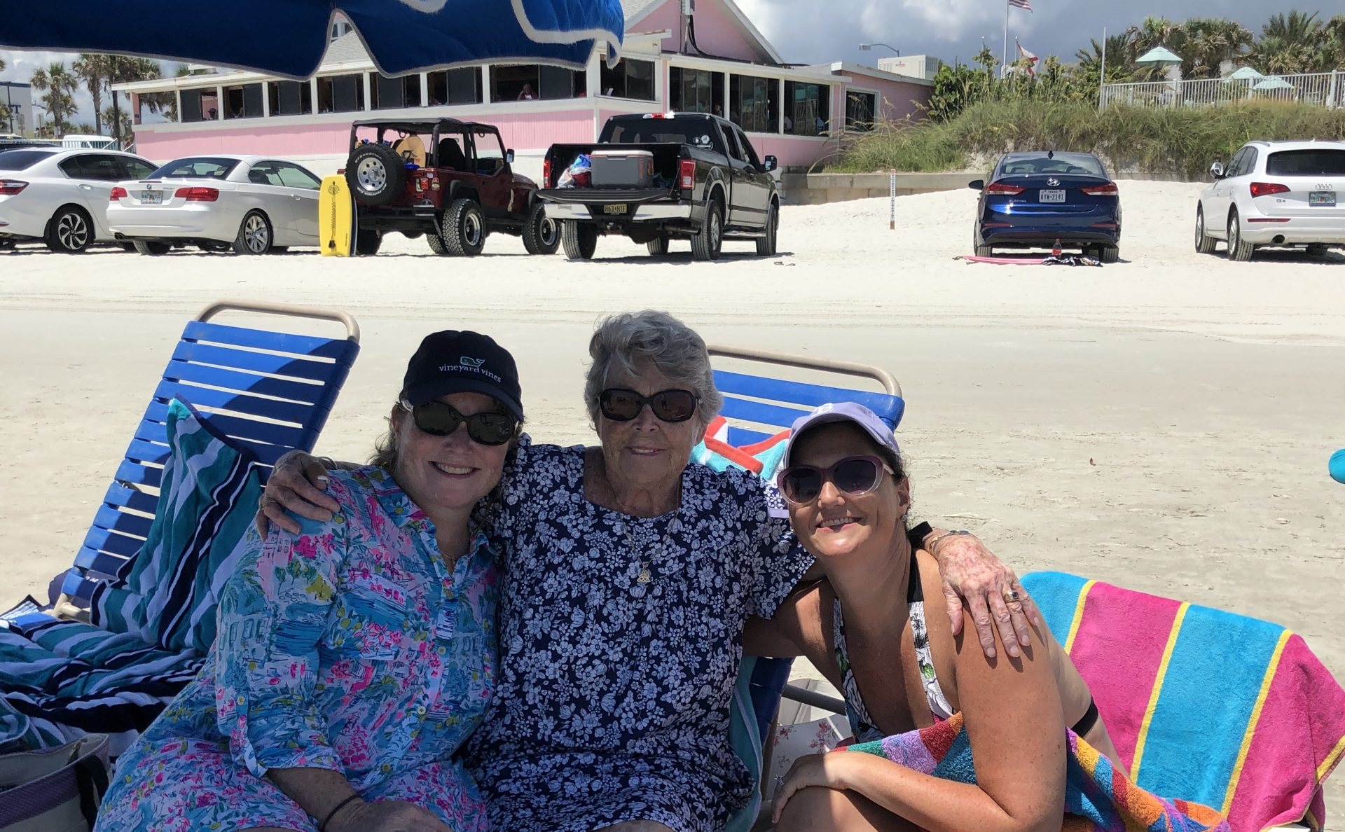 Mom was thrilled to be at the ocean - New Smyrna Beach July 2019