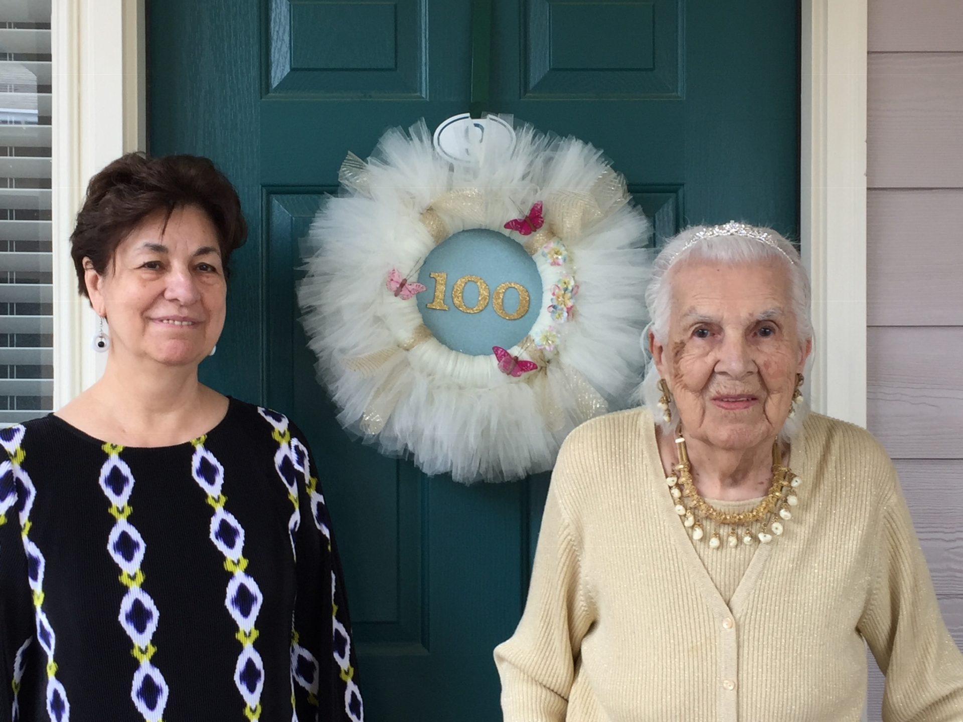 Marcia and Mom on her 100th Birthday