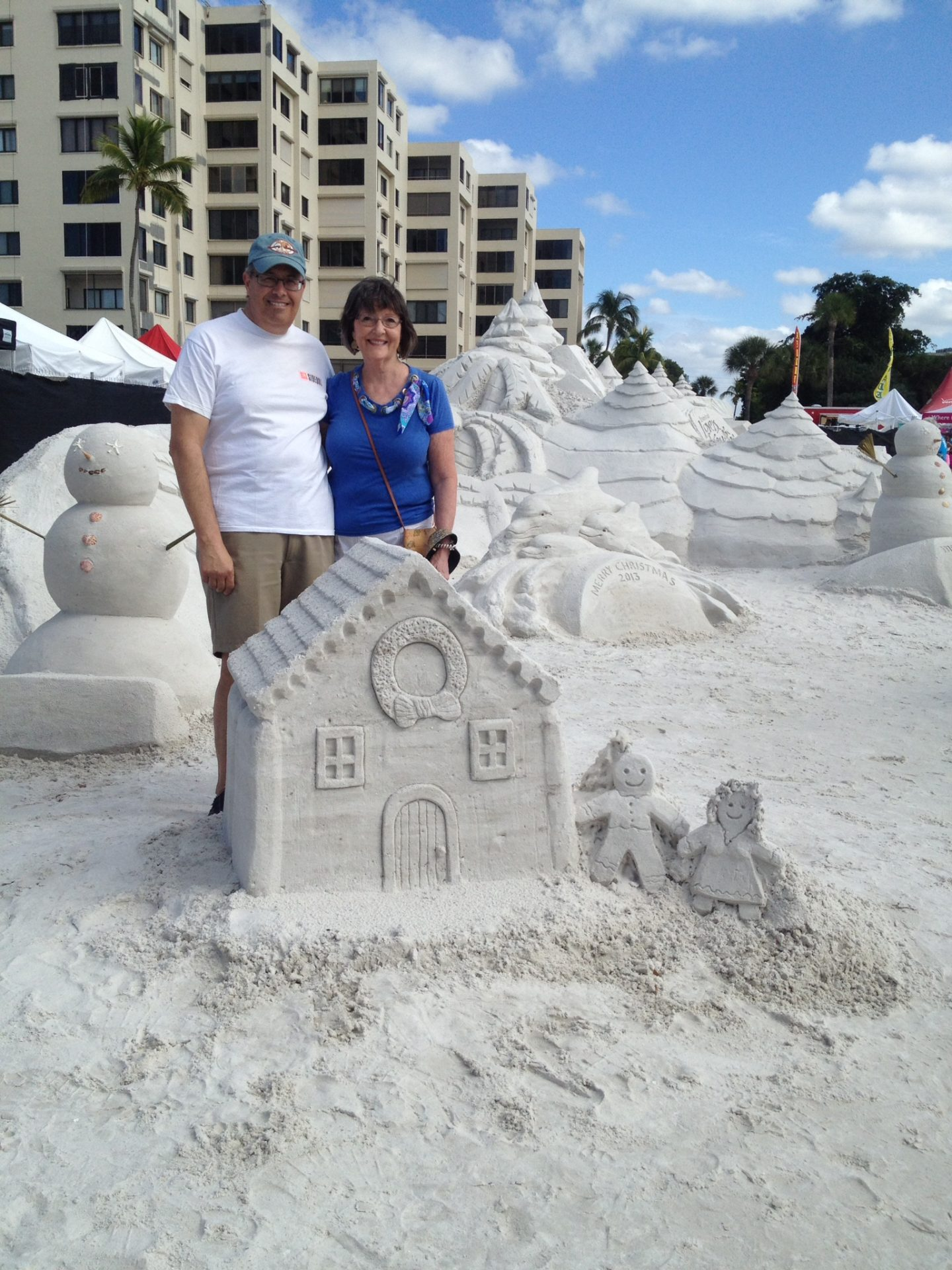 Peg and I at the National Sand Sculpture contest at Ft. Myers beach. Peg loved the beach and especially walking on the sand.