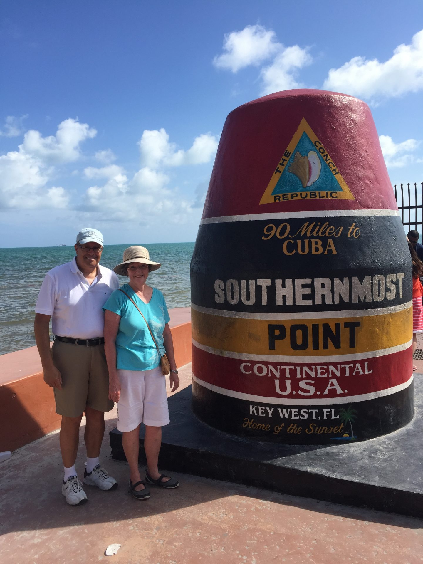 Peg and I in Key West. This is the Southern most point in the US. Peg loved going to Key West and watching the sun set.