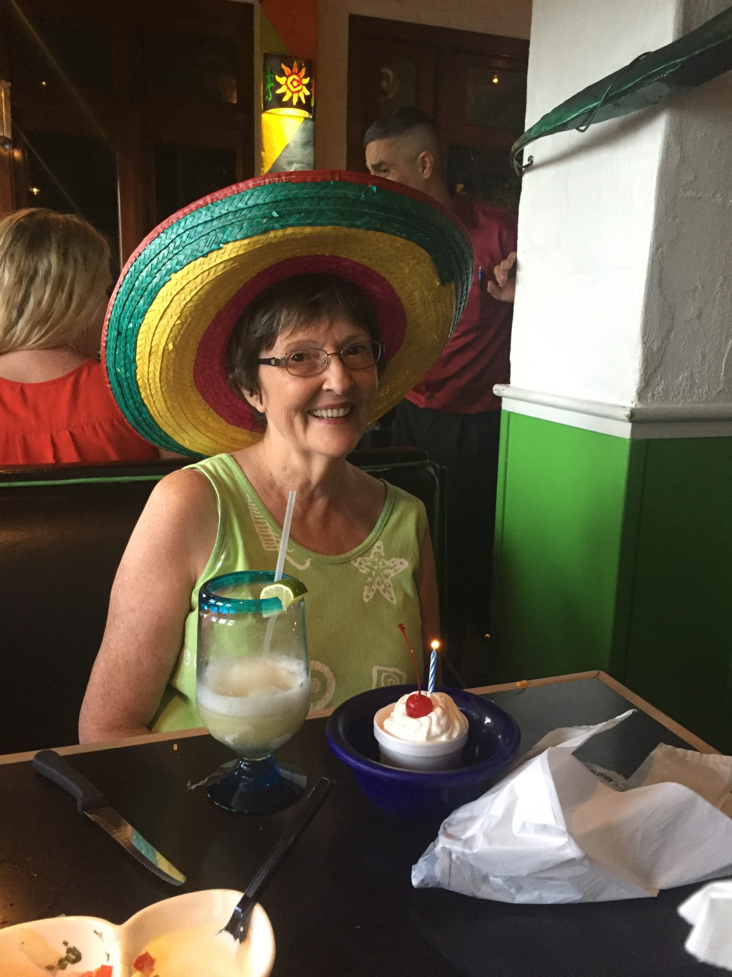 Peggy wearing her special sombrero.