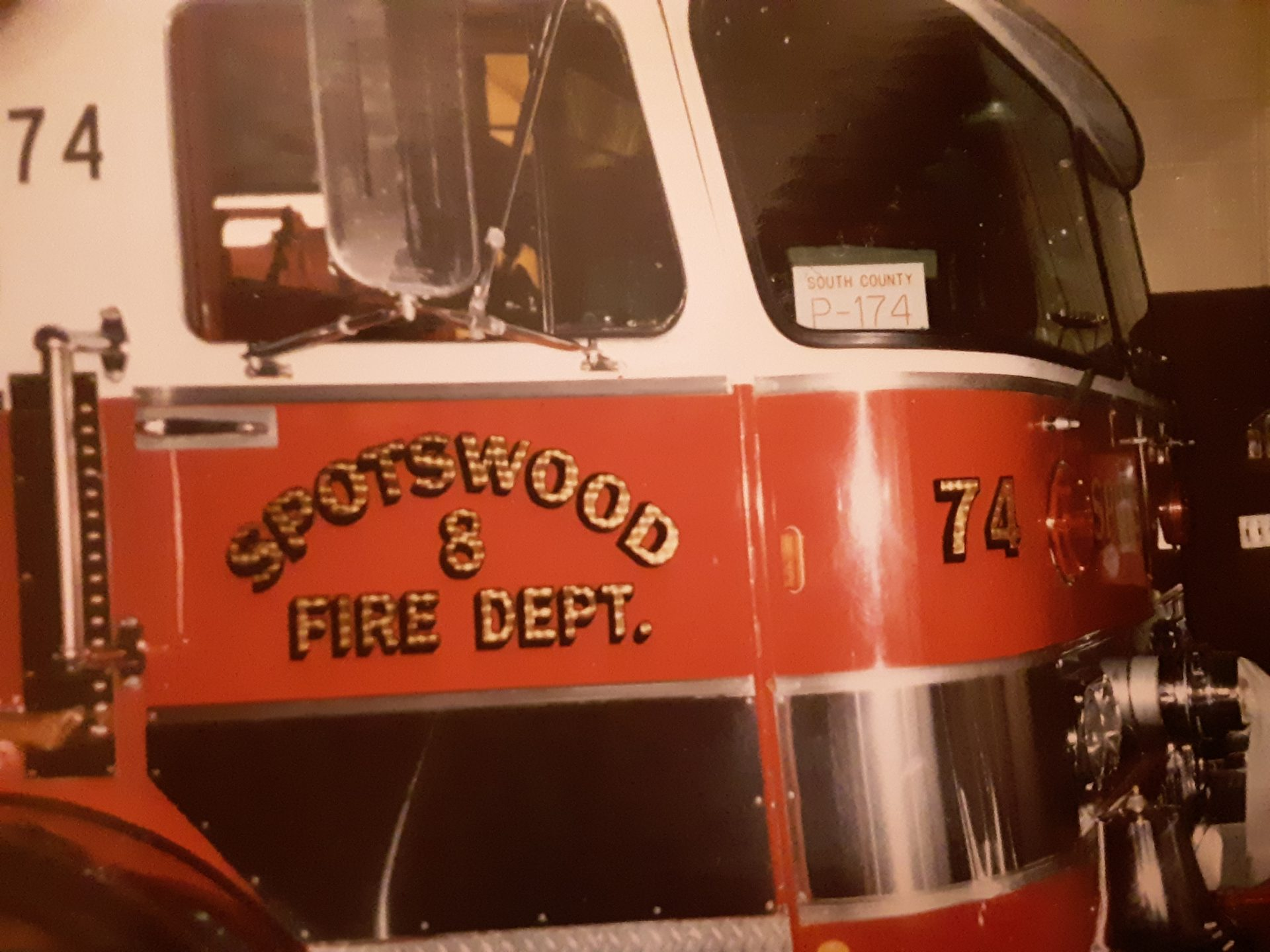 Old engine  74! Dad and  uncle  Ray  designed  and  dedicated this  truck  with  help  of a few other  great  firemen!