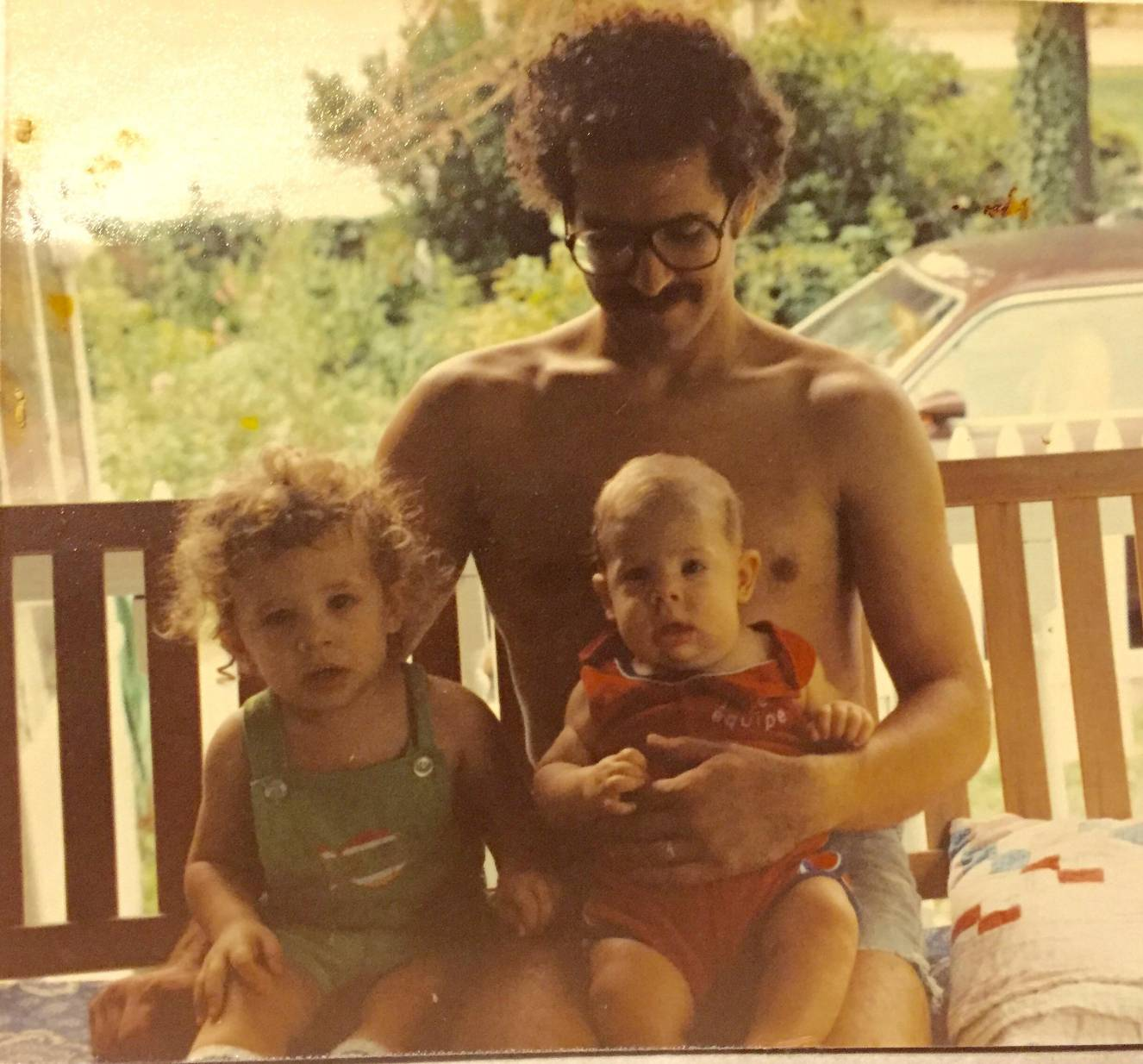 Dan, Matt & Nate on front porch on Dill Road, South Euclid, OH in the summer of 1981.