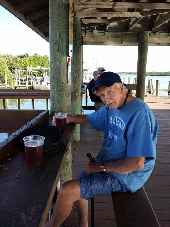 Dad enjoy the weather & a beer at BJ's