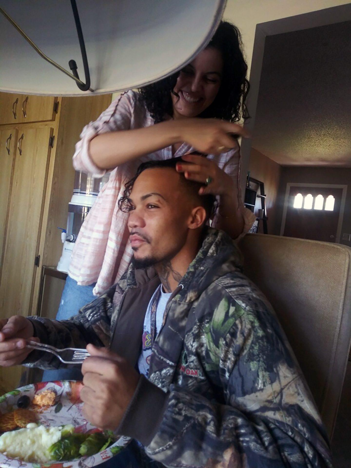 Gettin his hair did by Lan