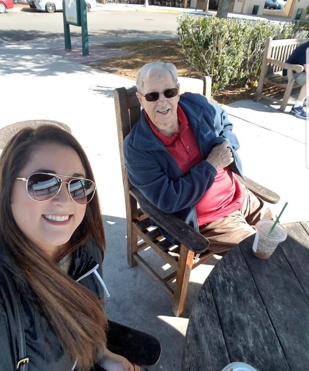 Having coffee hanging out with grandpa