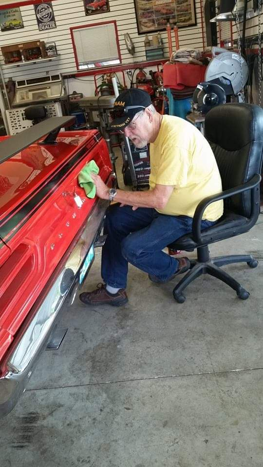 James hard at work on one of his cars