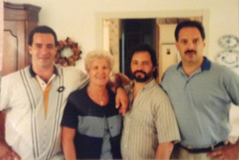 Nick, mom, Joseph, Bob. Mom and her 3 boys