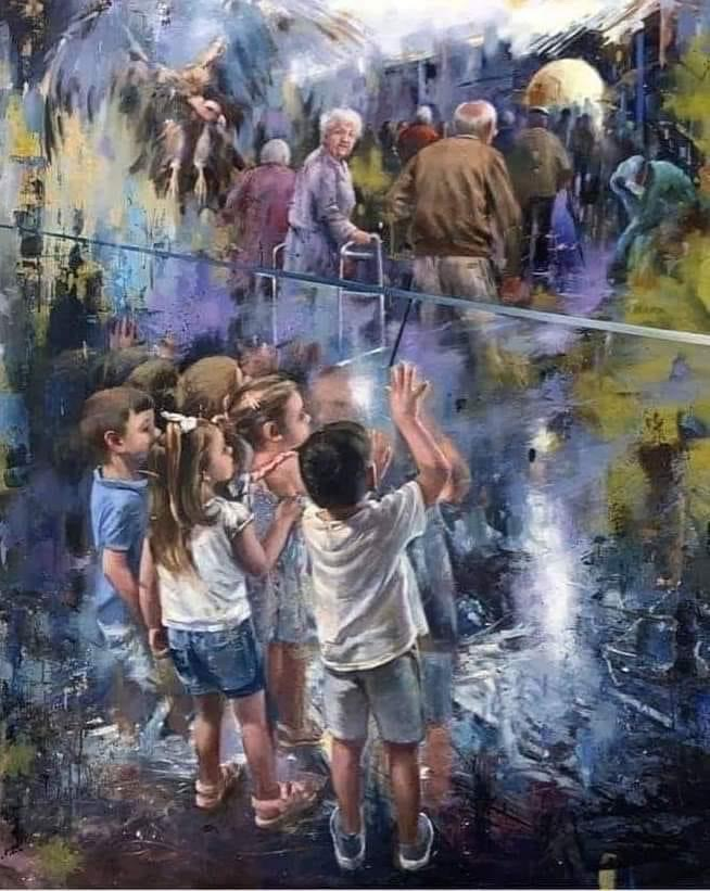 This painting was done in honor of all the deceased grandparents of COVID-19 who were unable to say goodbye to their grandchildren Artist Juan Lucena