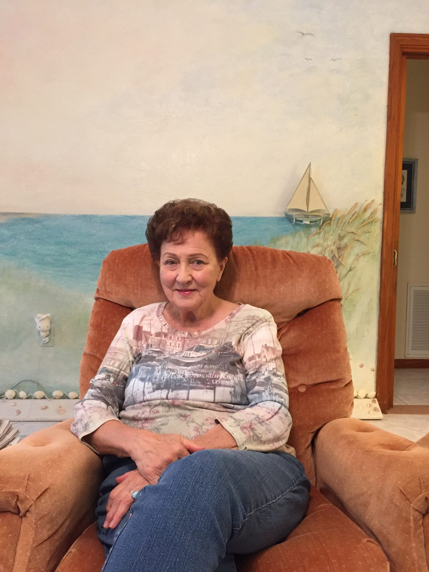 Mary Lou relaxing at her home.