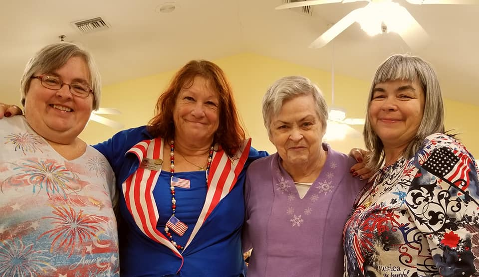 with Daughter Lisa, Activity Director Linda and Daughter Debbie