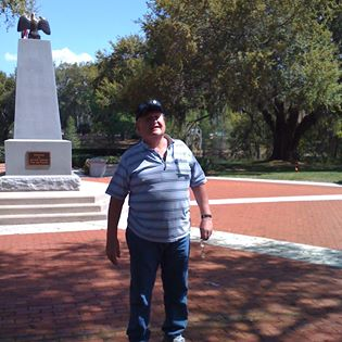 Dad in the military park when we went to see his brick.