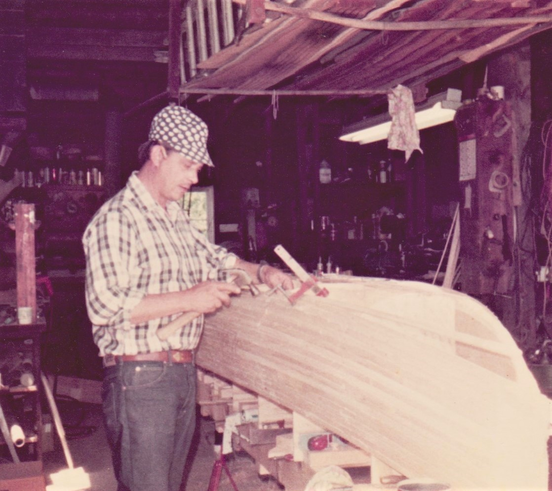 Working on the canoe