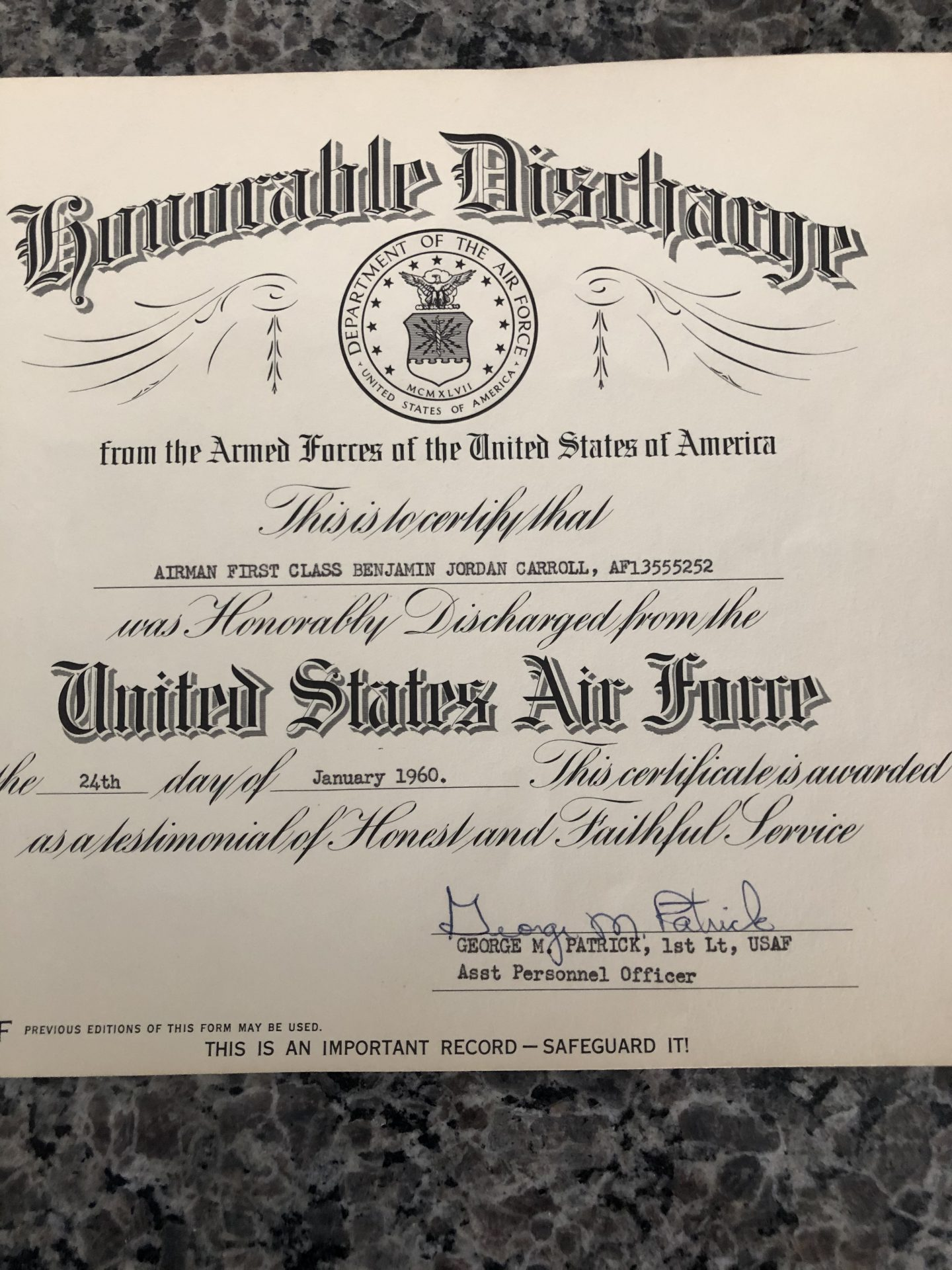 One of two honorable discharged dad received from the Air Force.<br /> 1960 and 1964