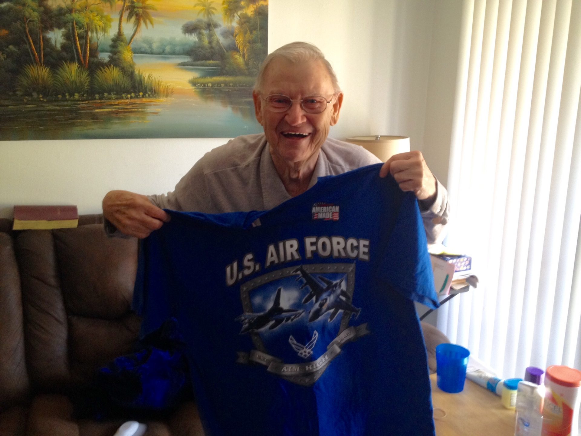 Dad with an Air Force shirt I bought him .
