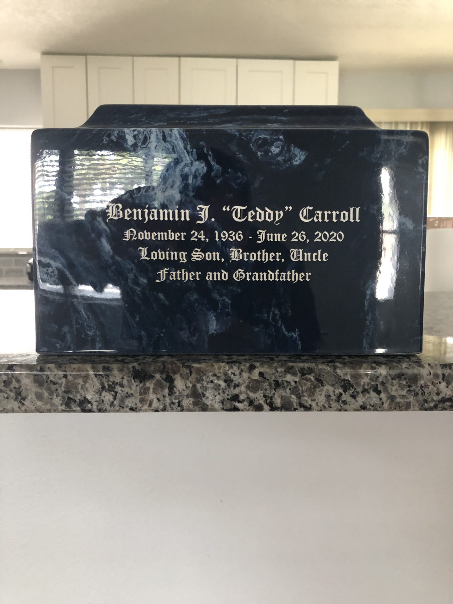 Dads urn and remains.<br /> Received July 9, 2020