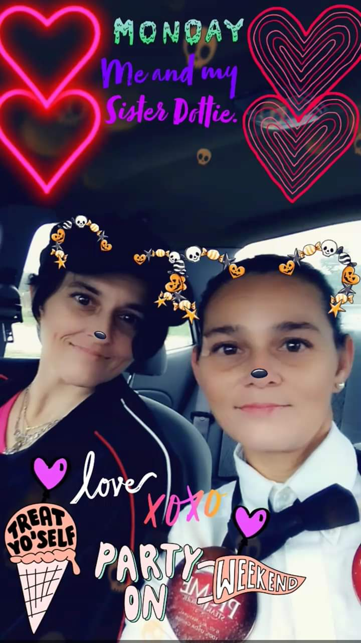 Me and my sister being silly on our way to work