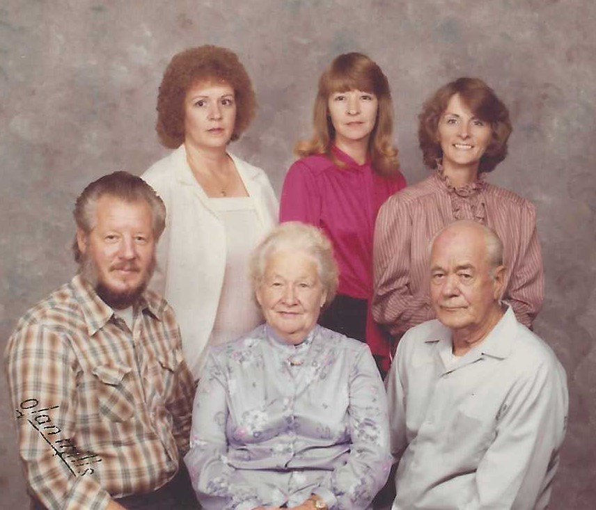 Linda was her parents and siblings. Seated is brother Gerald Leon Vance, parents Alice and Murphy Vance; standing Linda with sisters Ginger Faye Pugh and Barbara Jean Goodhue in 1979.