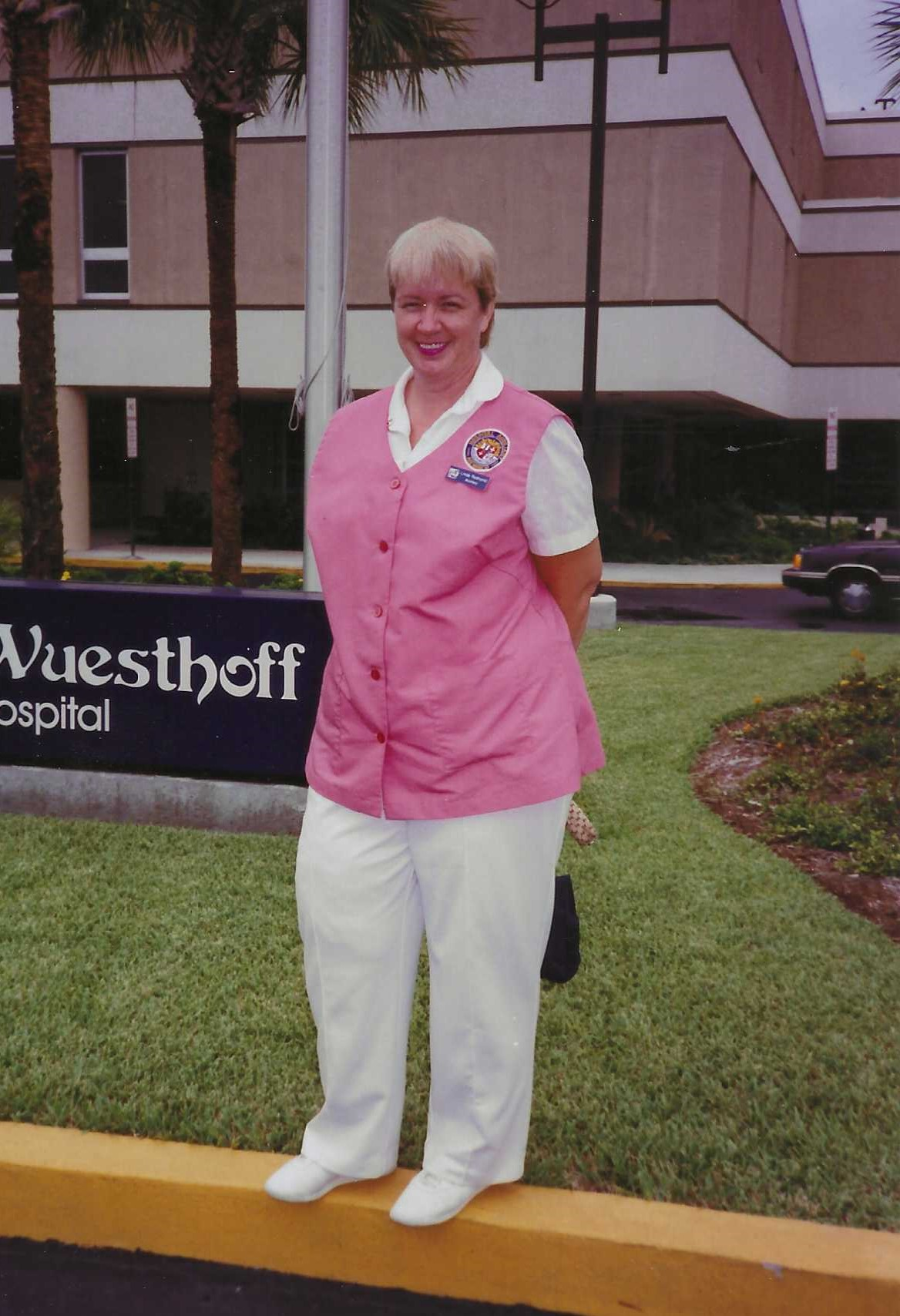 """Linda volunteered as a """"Pink Lady"""" at Wuesthoff Hospital in the late 80's/early 90's."""