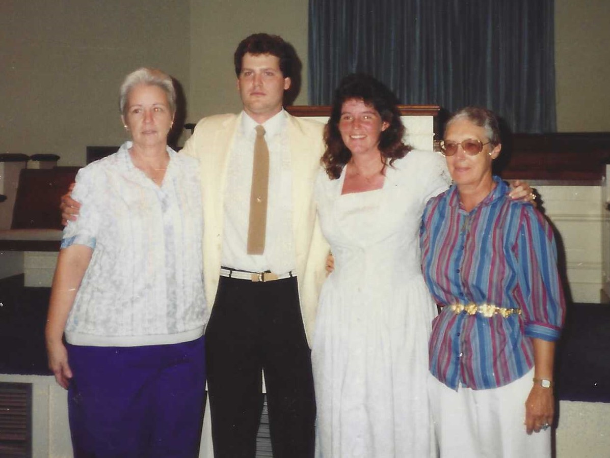 Linda with Ray and Donna Zink and Maxine Currey when Donna and Ray were married in 1991.