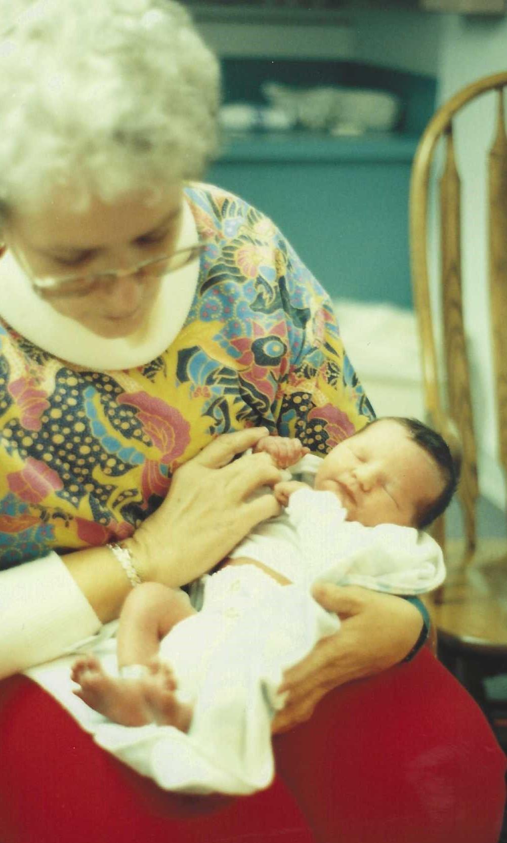 Linda with newborn nephew Nevin Scott Zink in 1992.