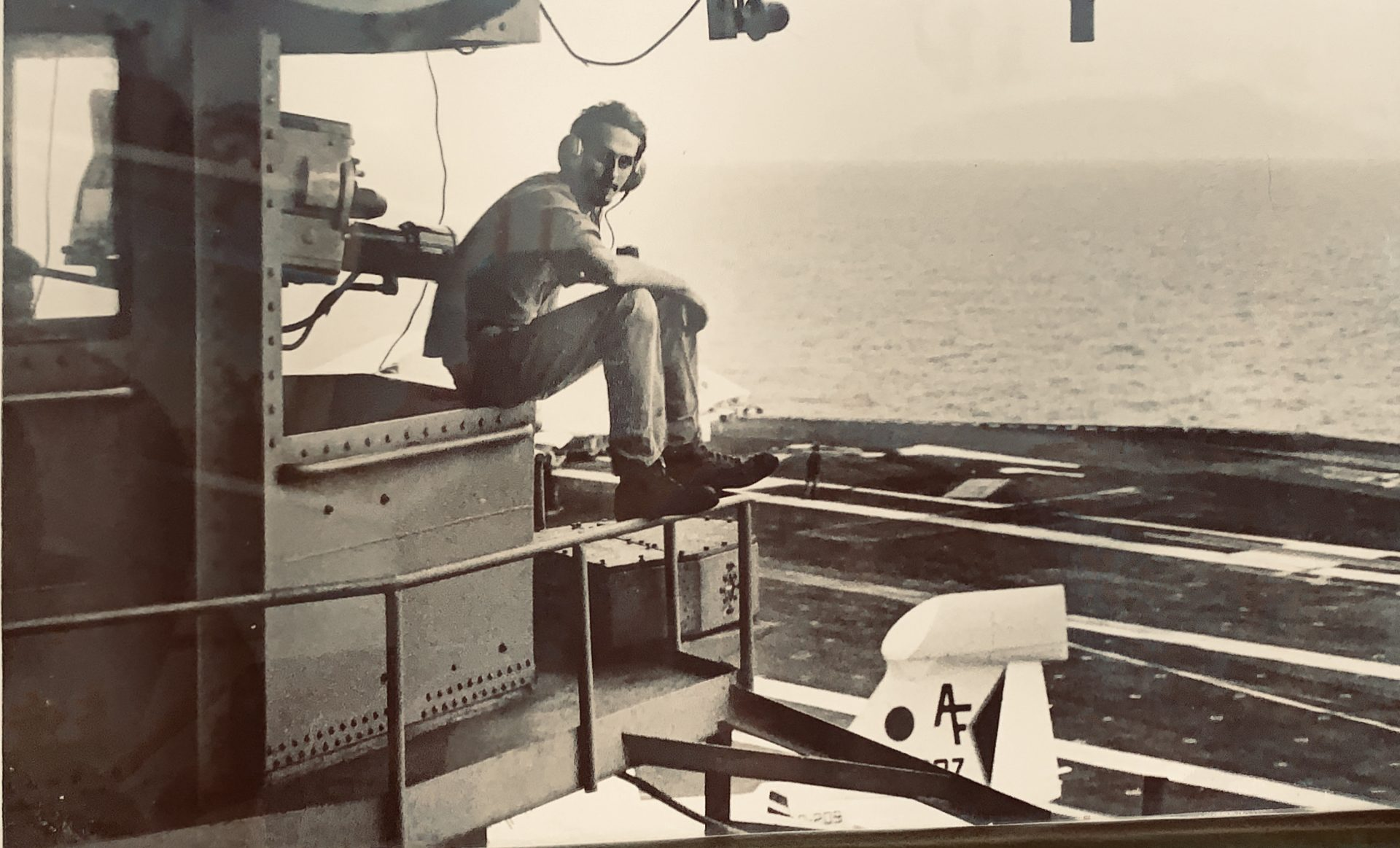 Dave in the US Navy on his aircraft carrier tower