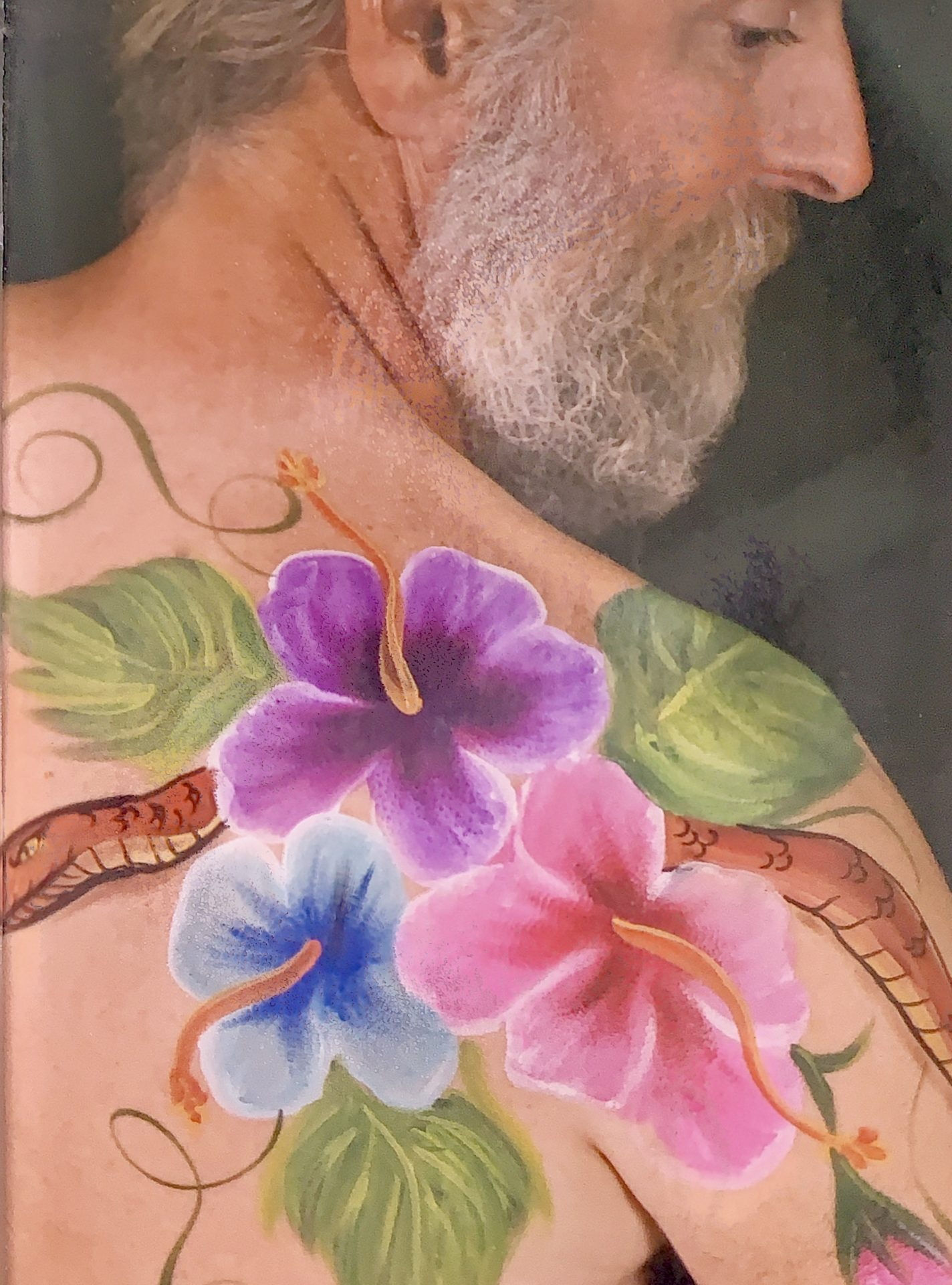 One of Dave's favorite pictures of himself. Art by professional body painter Susan McNeely
