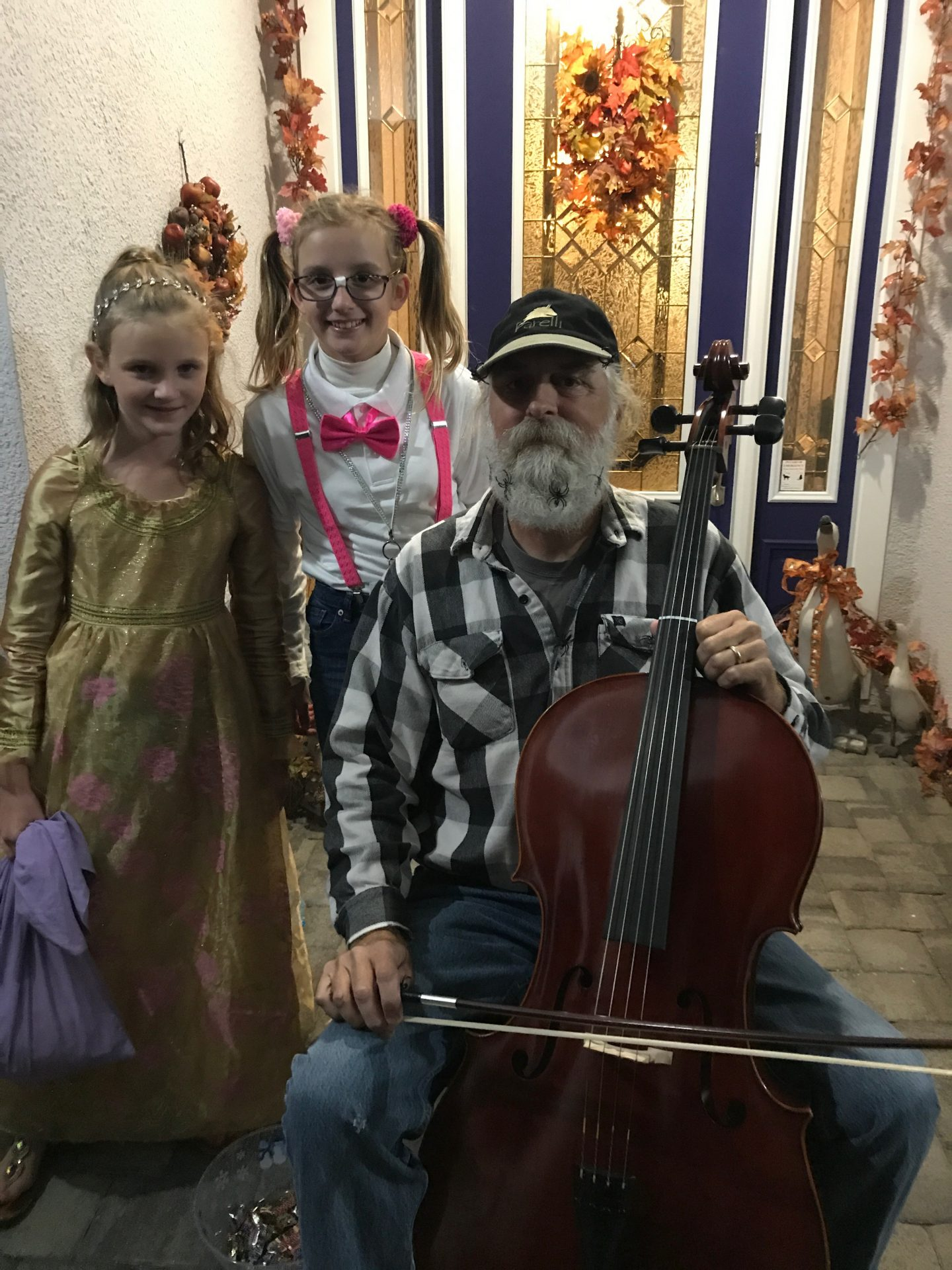 Dave loved playing cello for trick or treaters on Halloween.