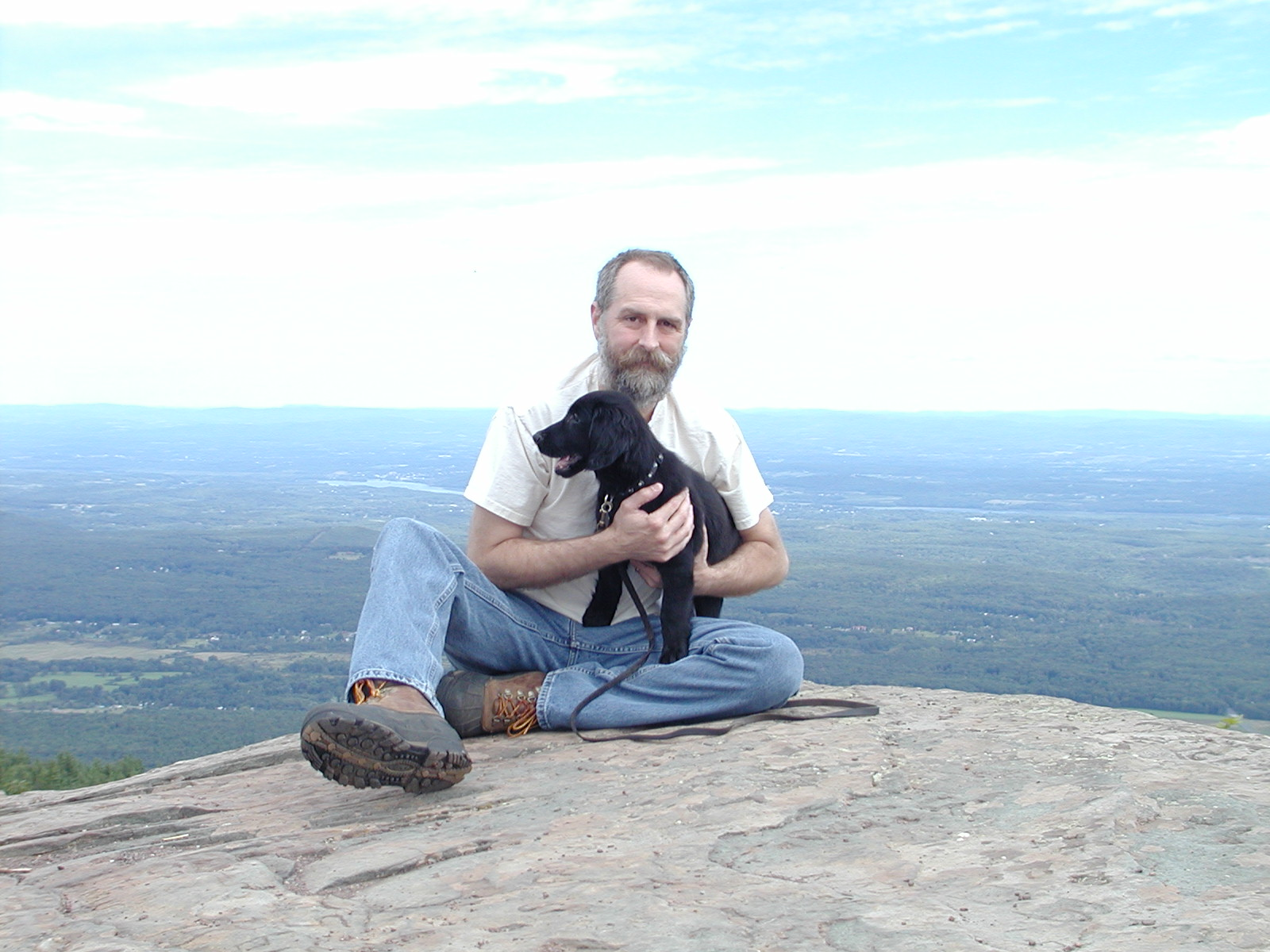 Dave and Gracie as a puppy in the Catskills