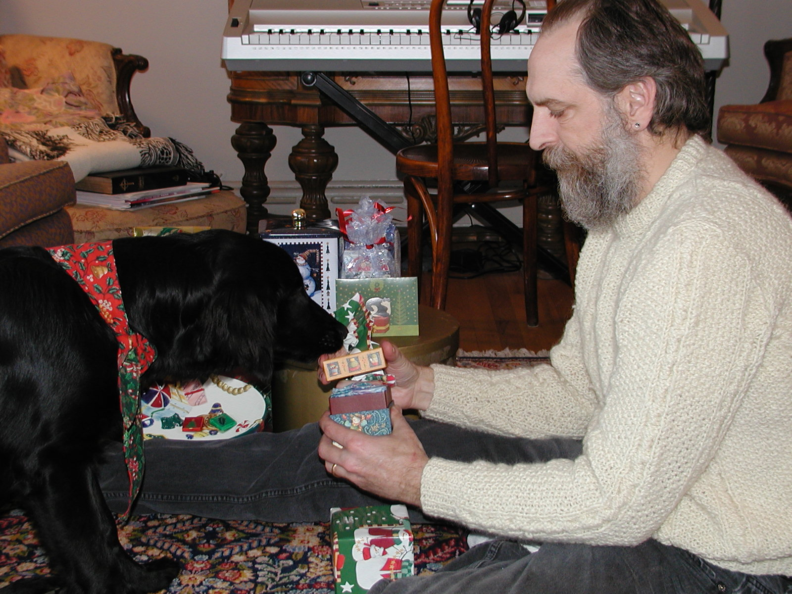 Dave and Gracie at her first Christmas (2003)