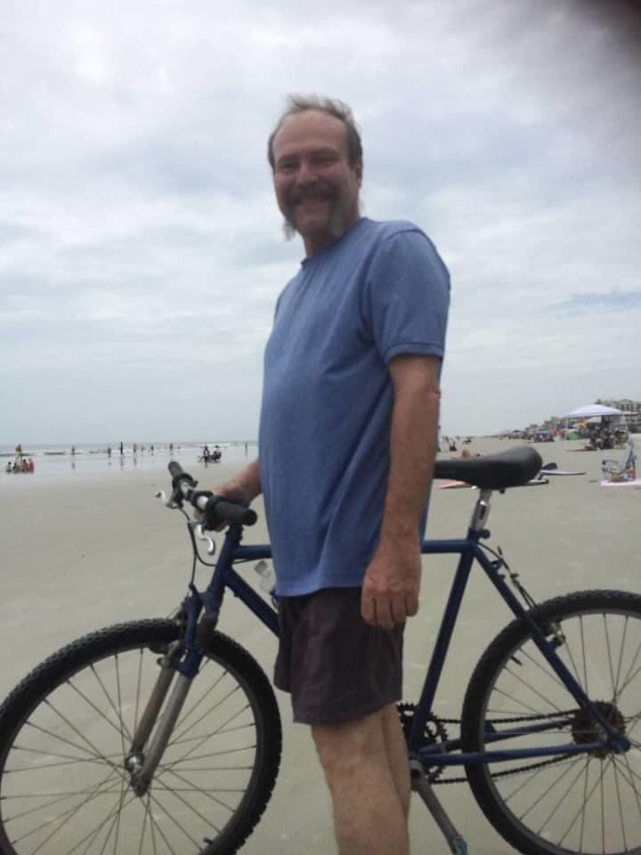Biking on the beach.