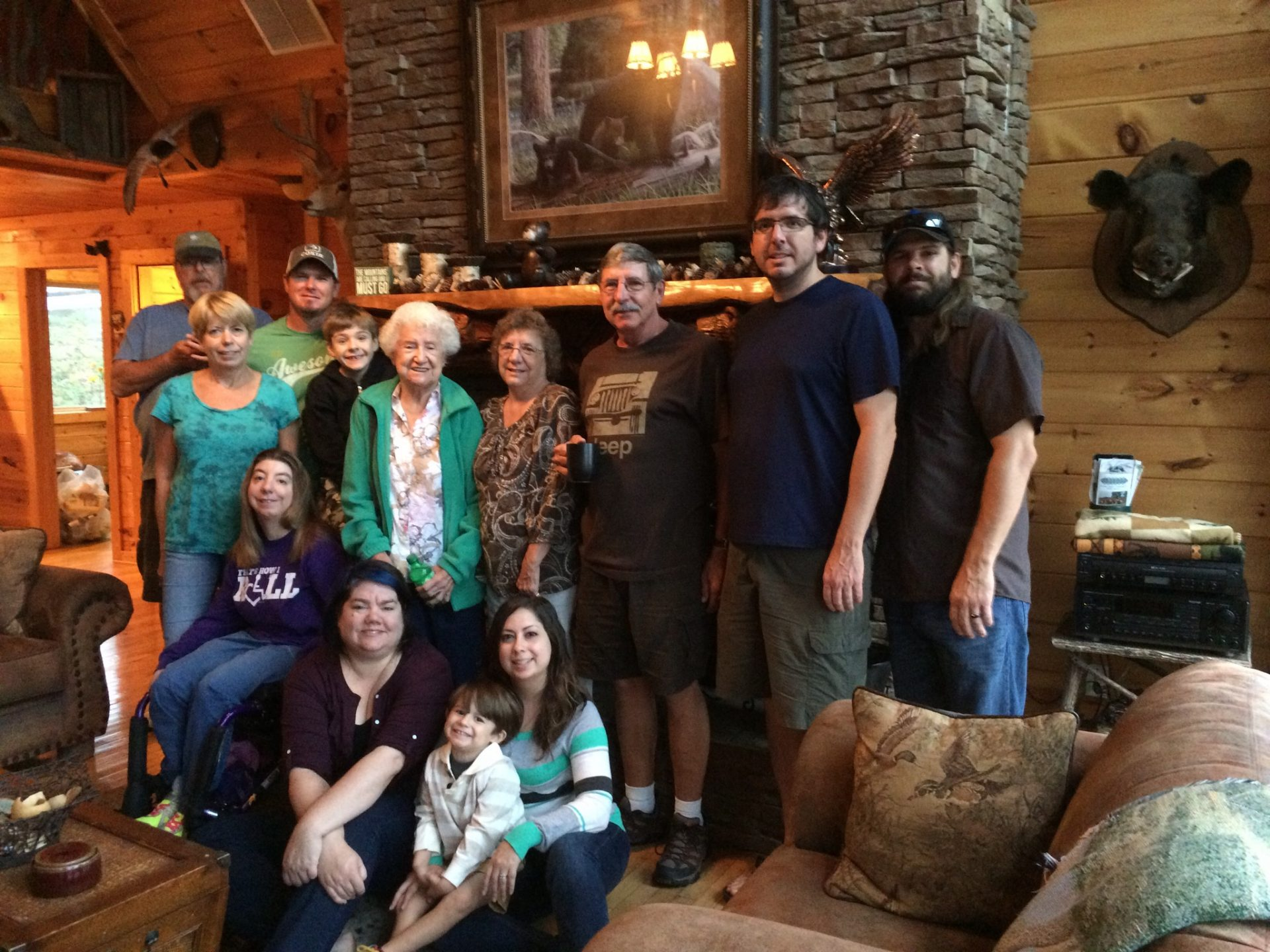 With family at the cabin.