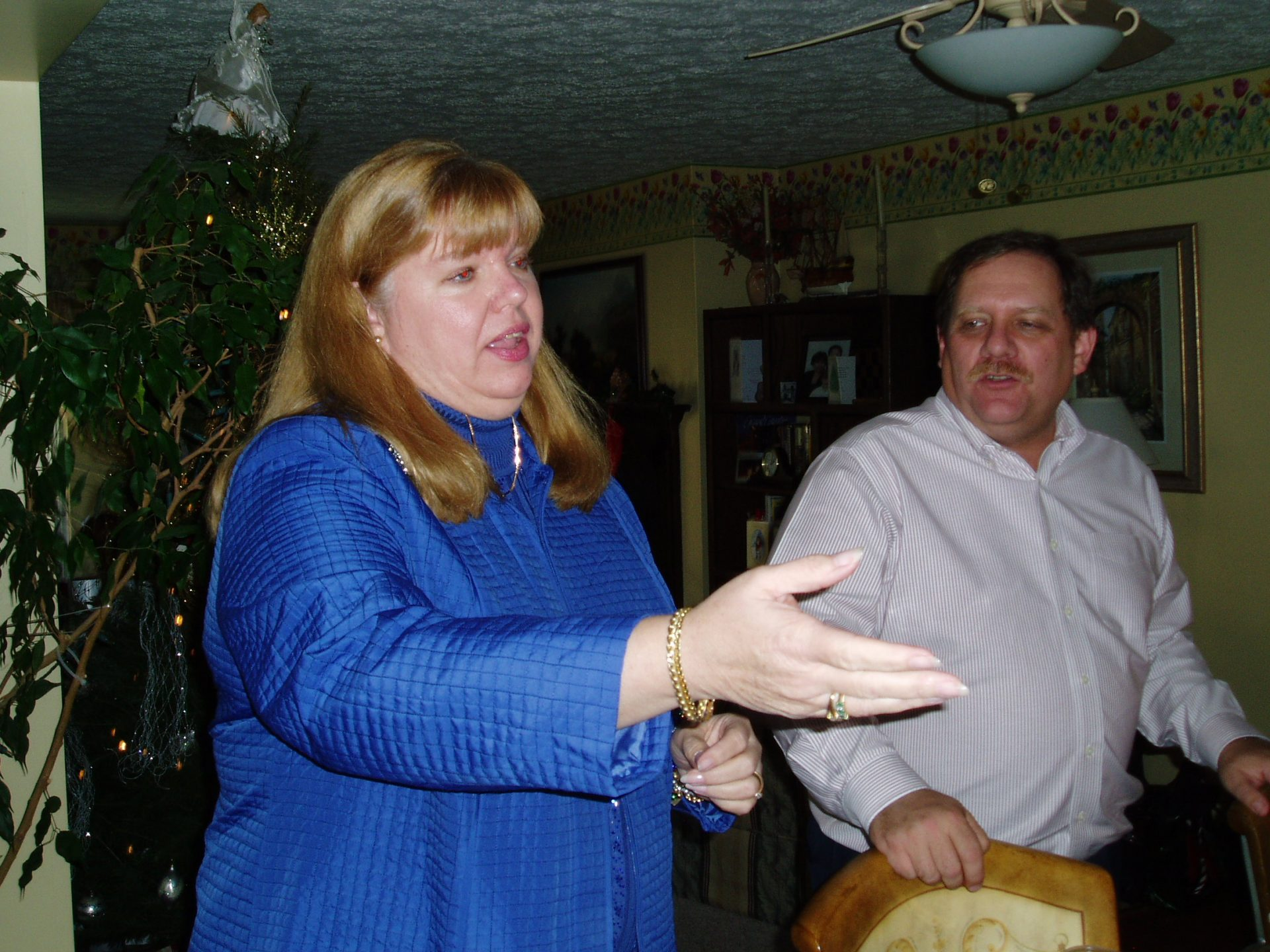 Sue telling stories at Ann Lowden's Holiday Party 2006.