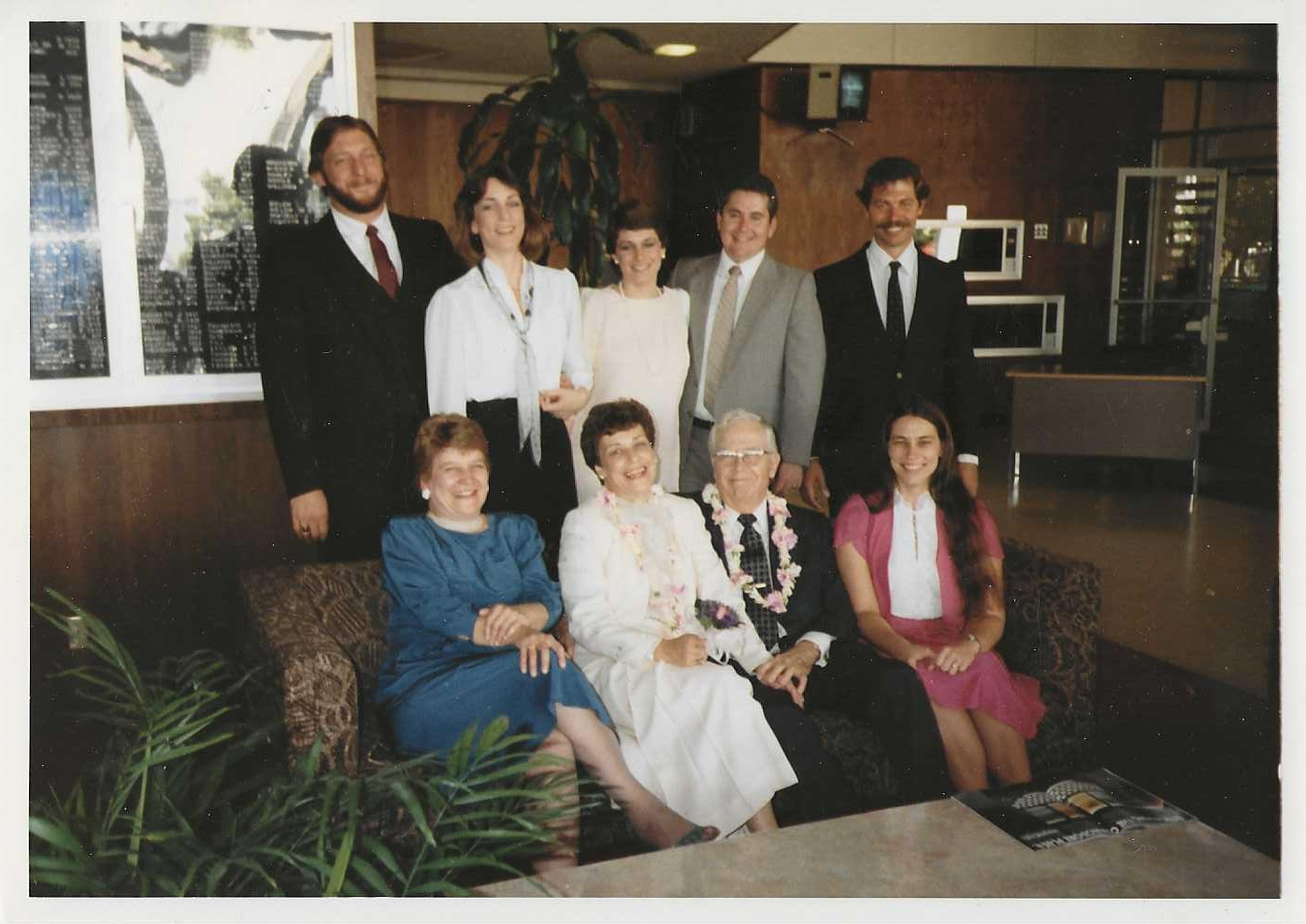 Mary Lou, with newlyweds sister Lois and Clare Hamman, and Ramsey girls and their husbands.  10/26/84