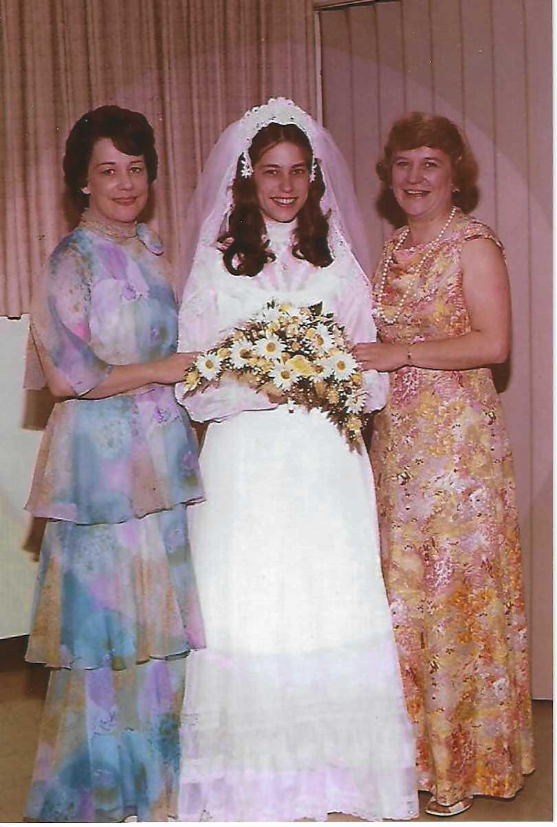 Sister Lois, niece Joyce, and Mary Lou at Joyce's wedding 5/28/1977