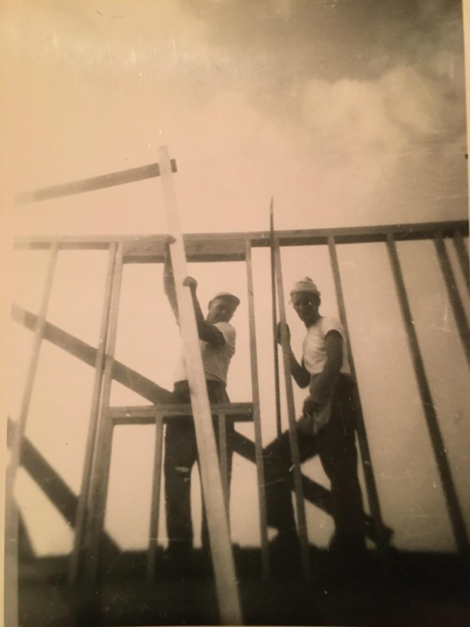 Building his father's house circa 1950