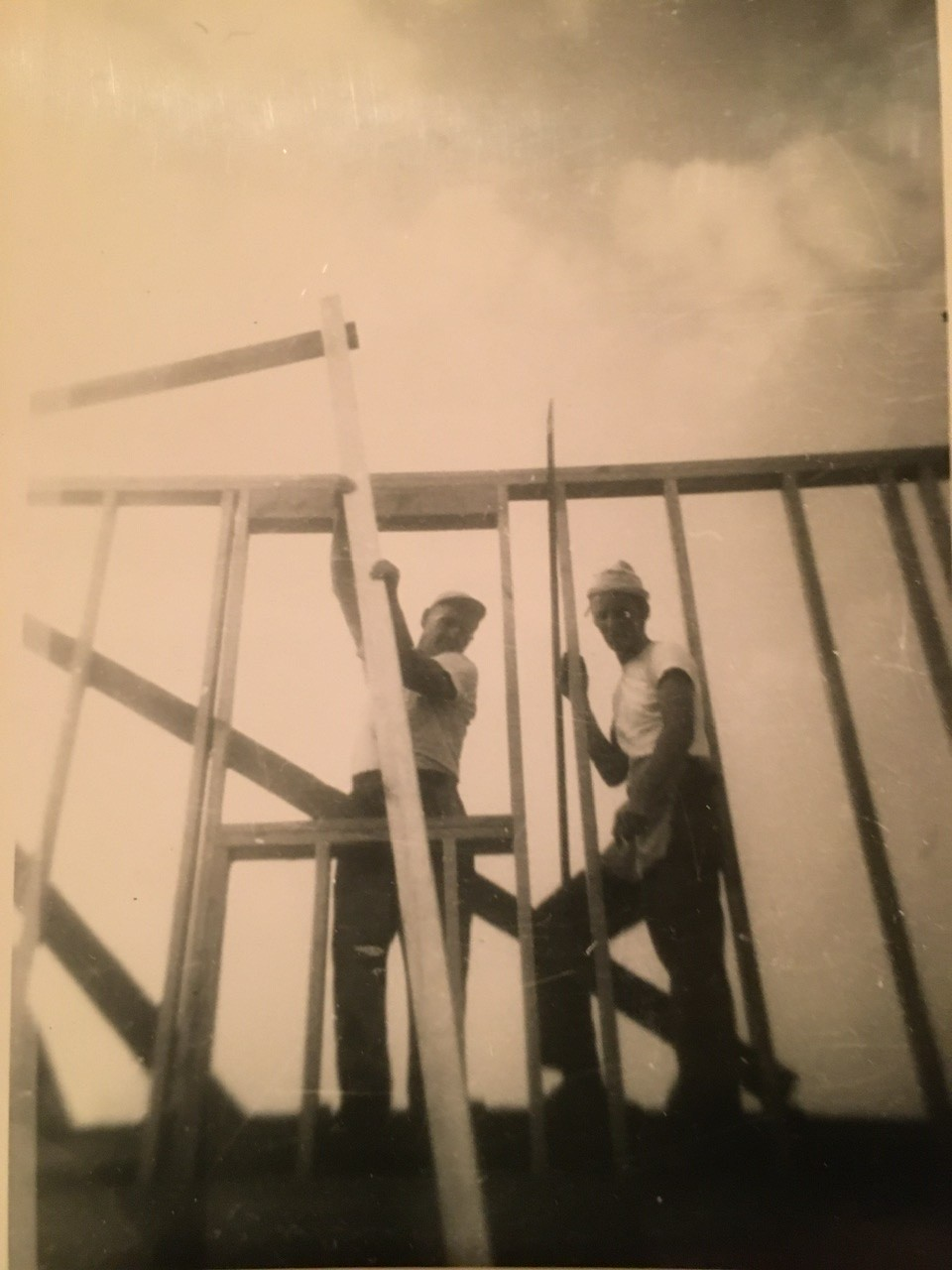 Building his father's house circa 1950