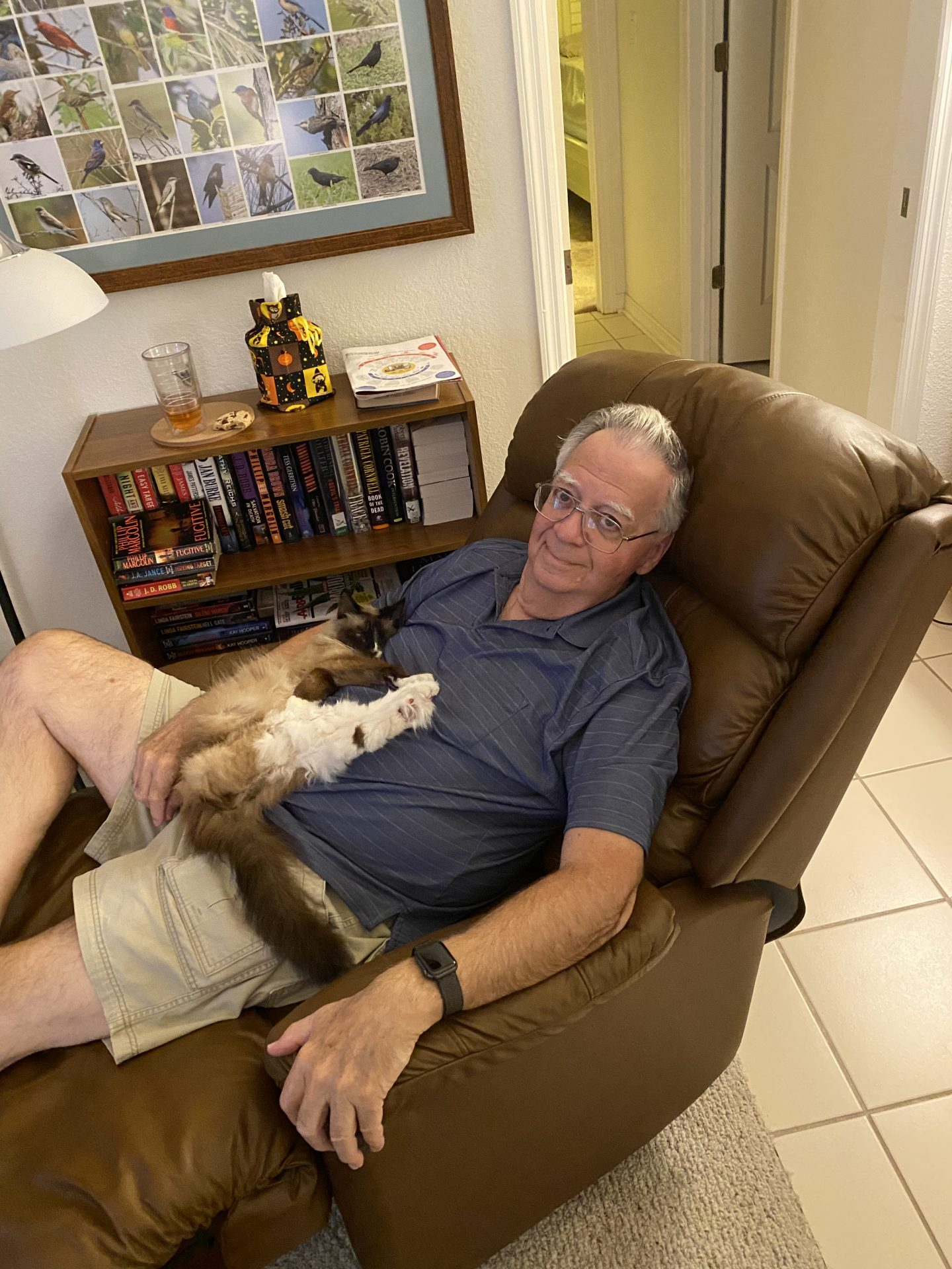 Dad with his cat Cocoa.
