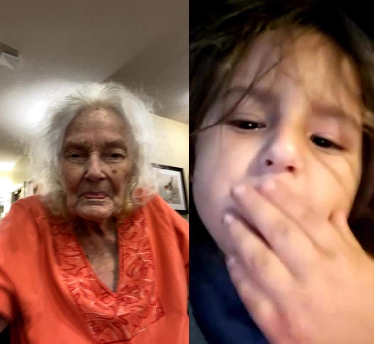 Blowing Grandma kisses