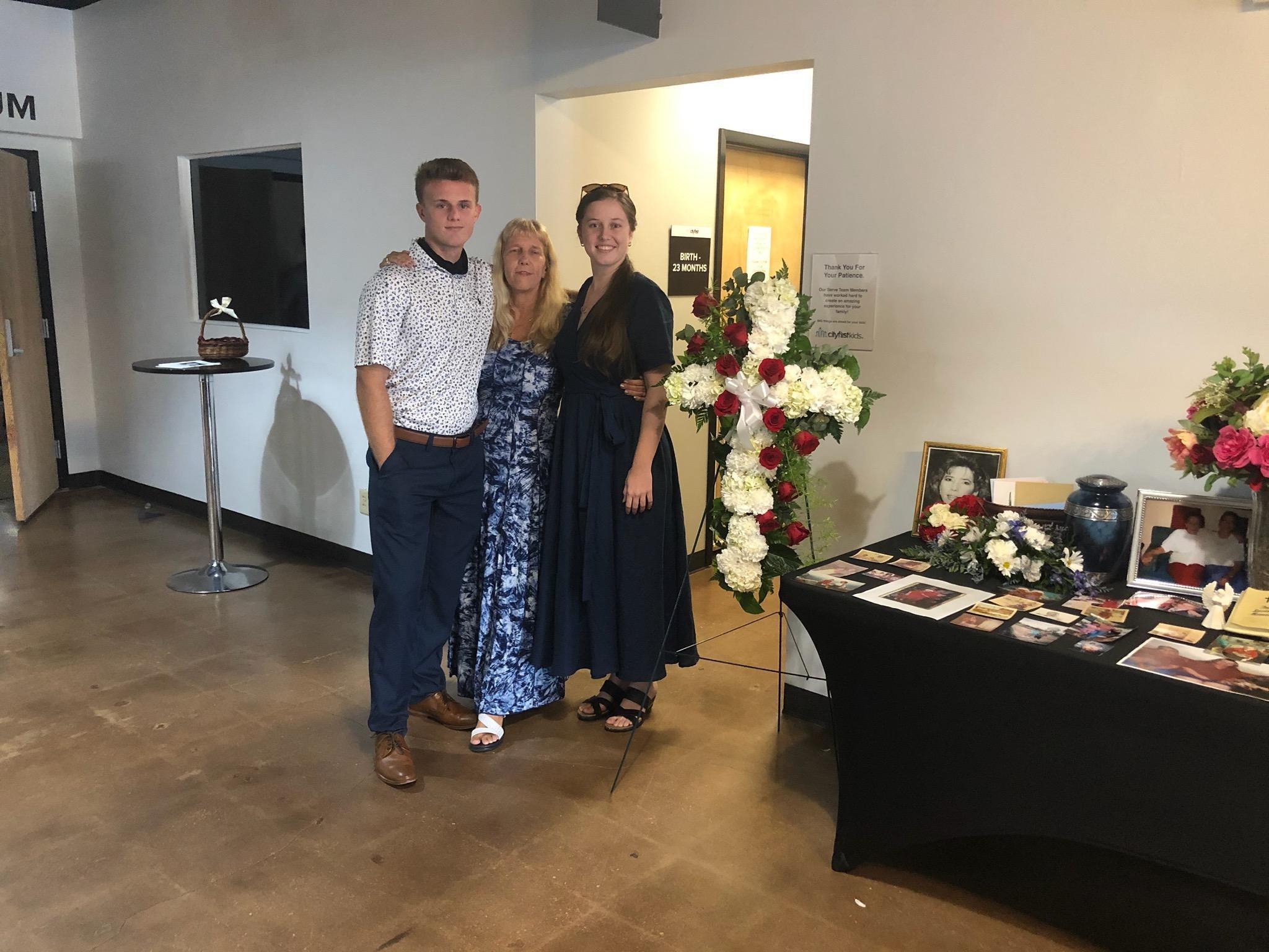 Carolyn, Kim and Tim at Memorial for Mom & Grandma.