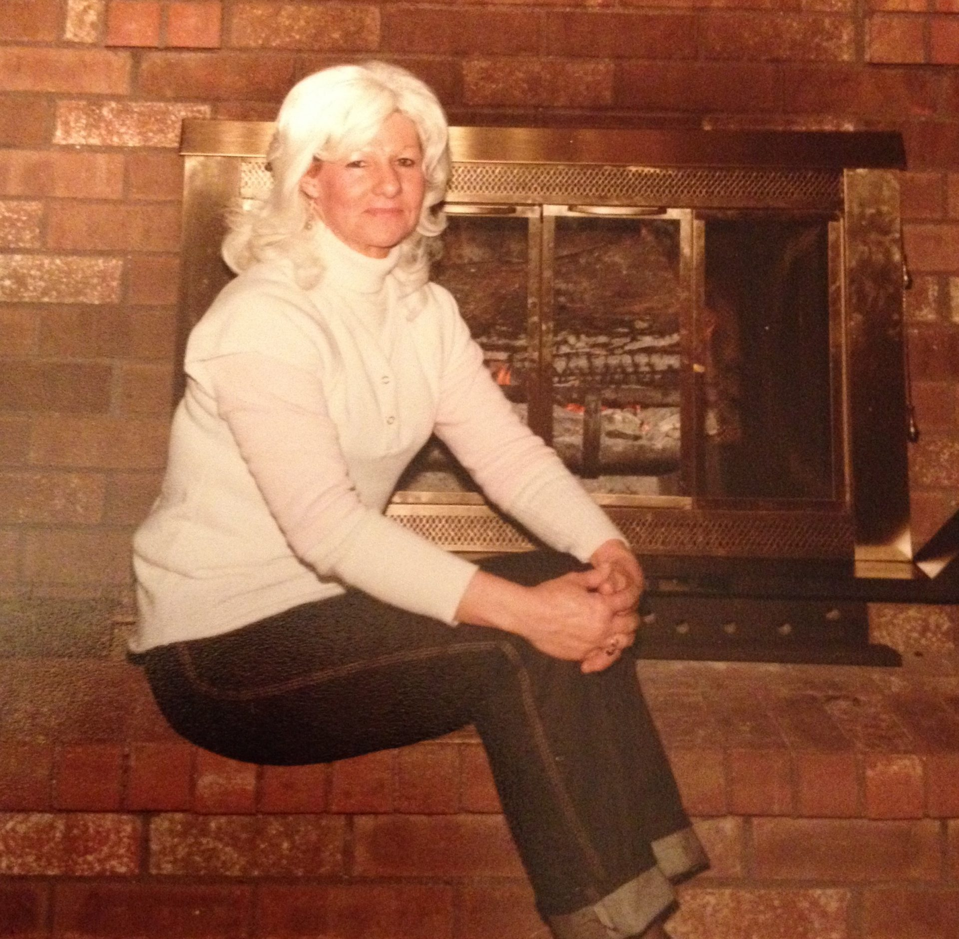 Mom enjoying the fireplace