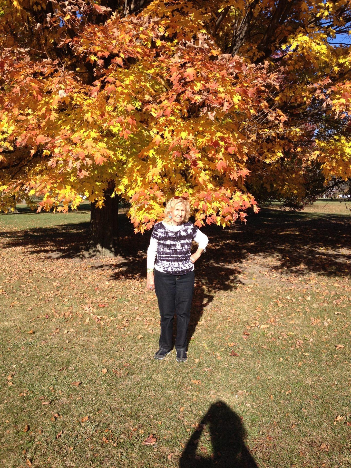 Mom enjoying some Fall foliage.