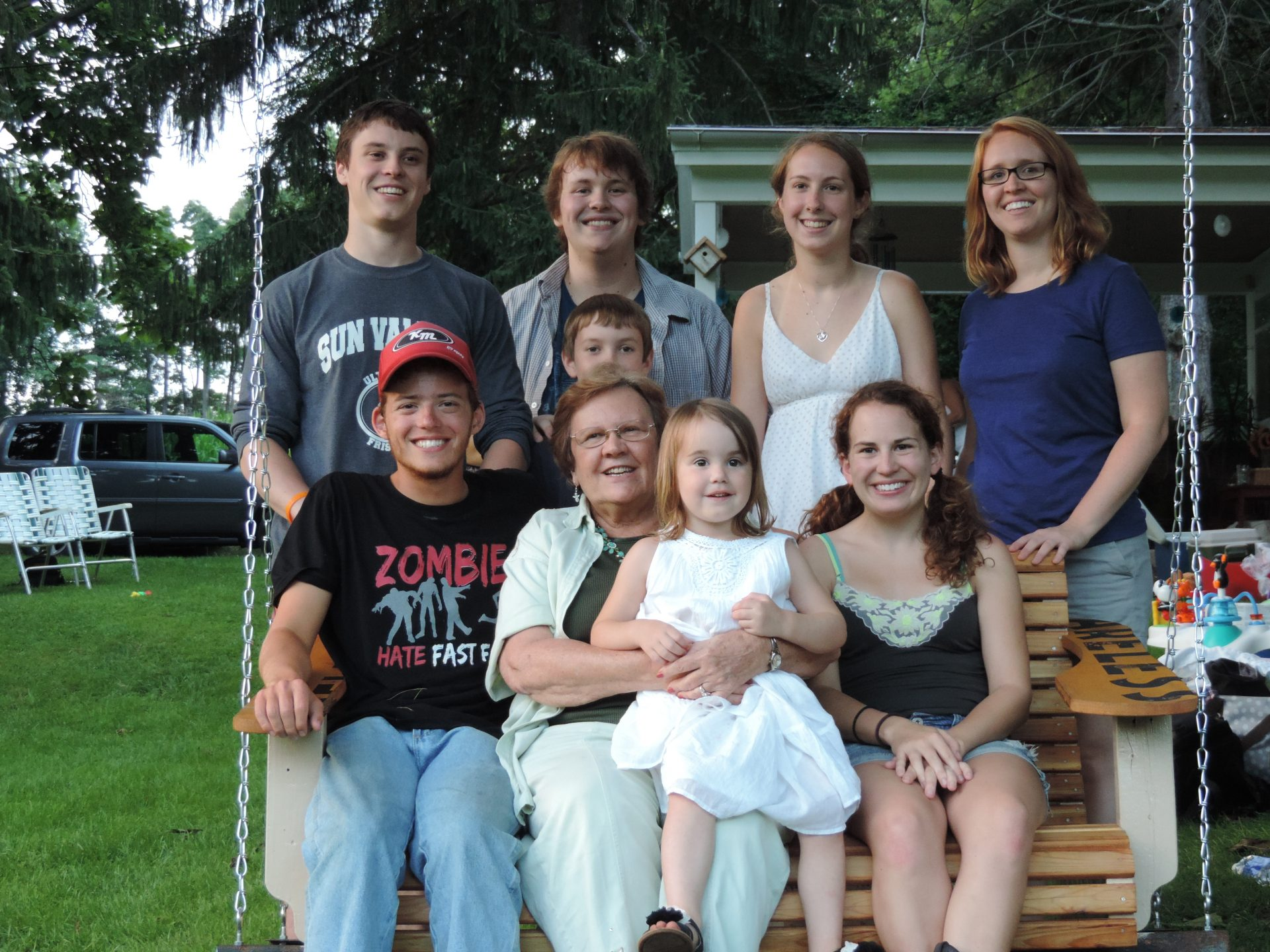 Mom's 75th with all her grandchildren