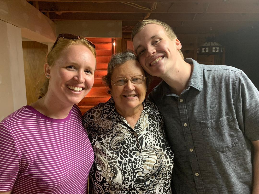 Joann with her grandchildren, Kristen and Mitchell