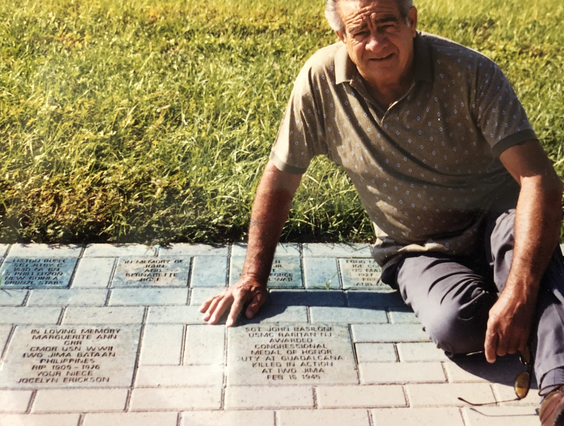 My dad by the John Basilone memorial brick in Cape Coral