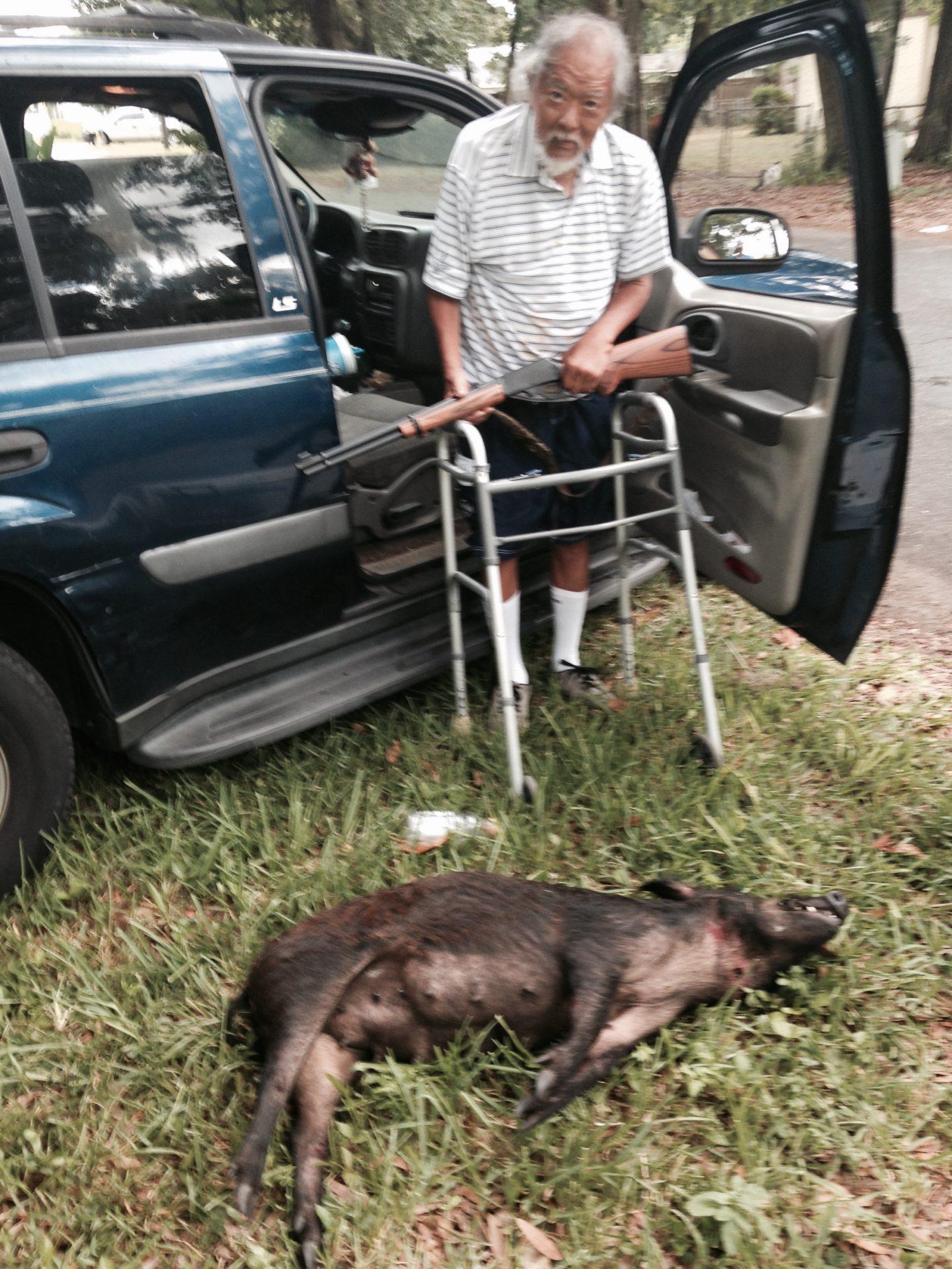 Doc Bert invited a wild hog home for dinner
