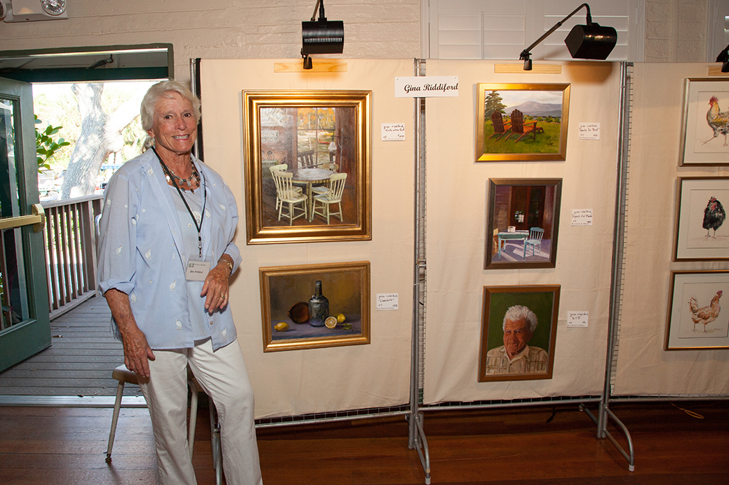 Gina Riddiford at the Art in Bloom Show representing the Boca Grande Art Center