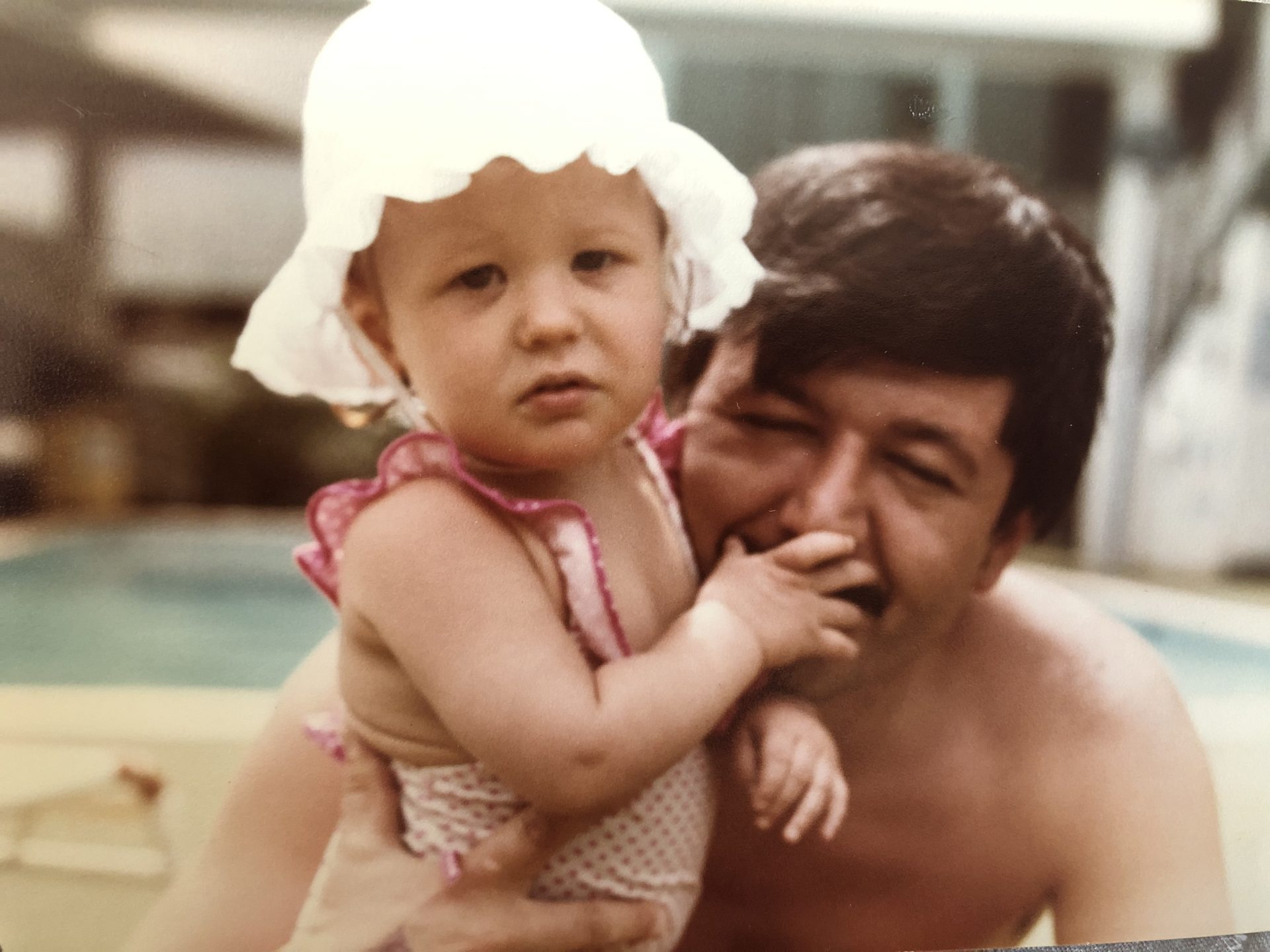 Dad teaching me to swim