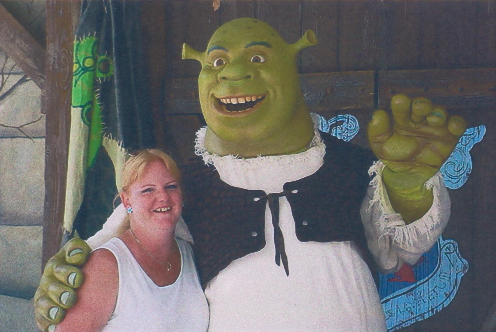 With Shrek!